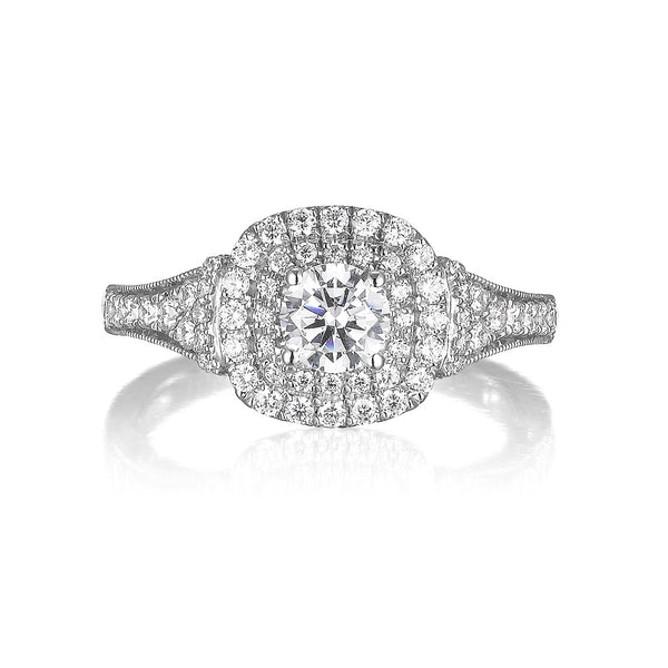 Round Diamond Double Halo Engagement Ring S201530A and Band S201530B