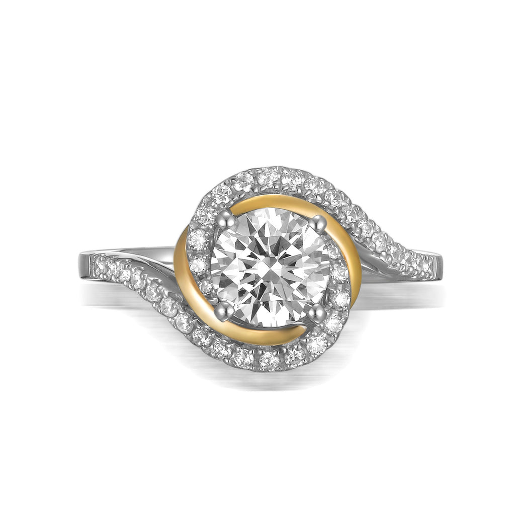 Modern Two Tone Engagement Ring S201791A and Band Set S201791B