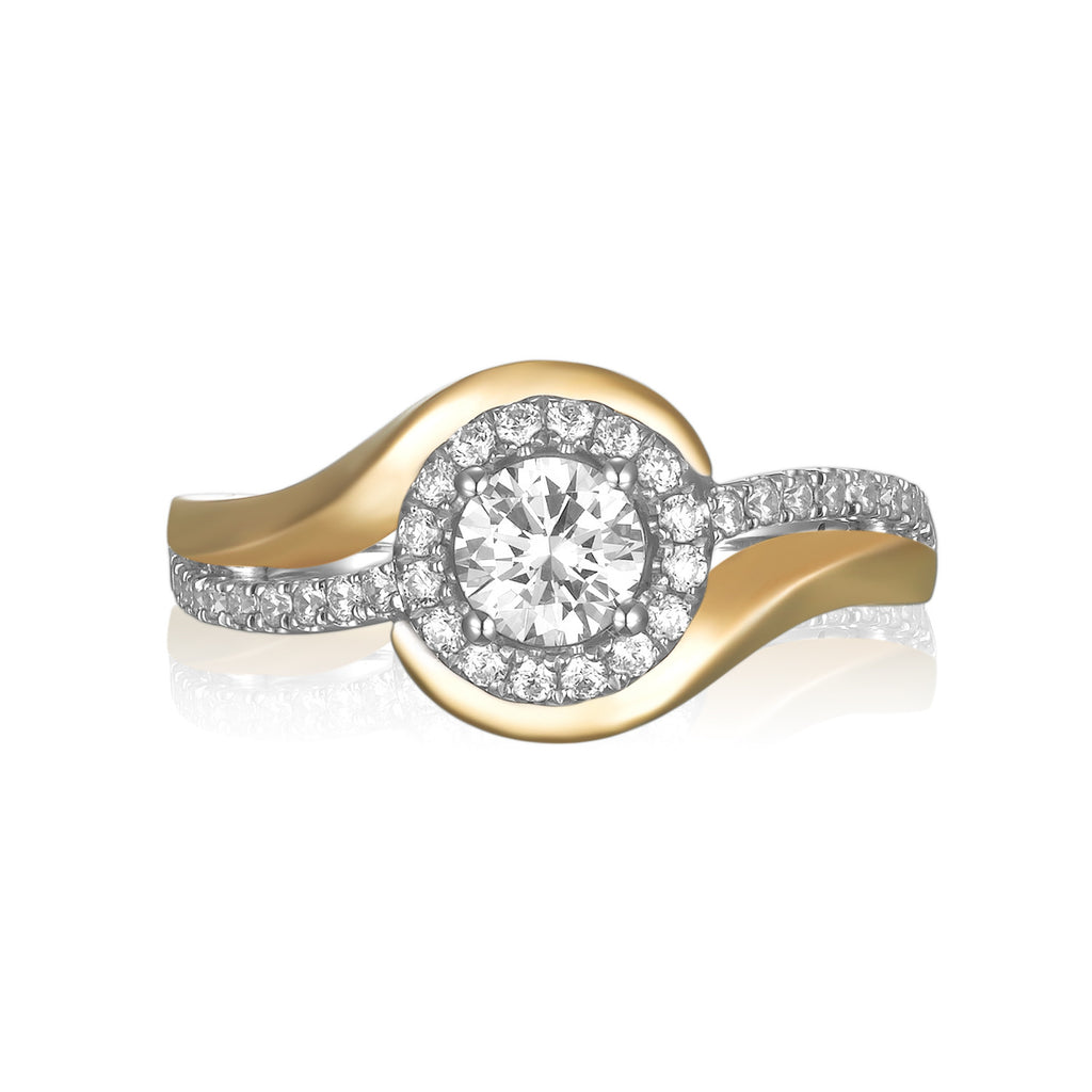 Modern Two Tone Engagement Ring S201792A and Band Set S201792B