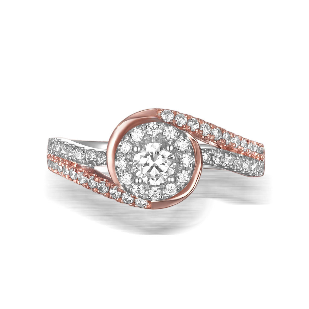 Modern Two Tone Engagement Ring S201793A and Band Set S201793B