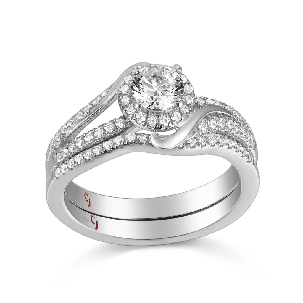 Modern Engagement Ring S201794A and Band Set S201794B