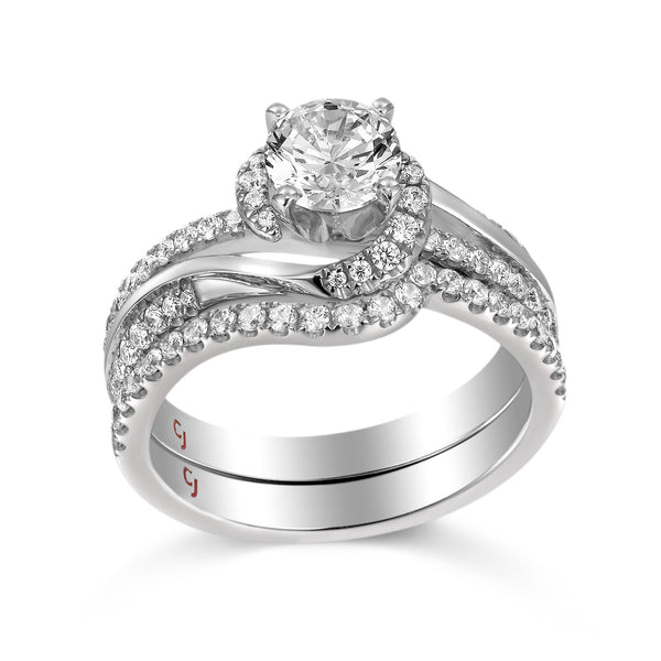 Modern Engagement Ring S201796A and Band Set S201796B