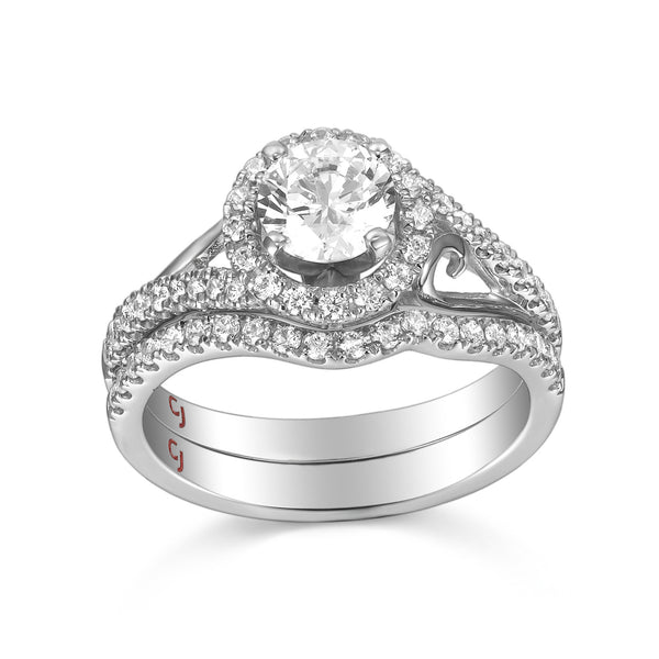 Modern Engagement Ring S201797A and Band Set S201797B