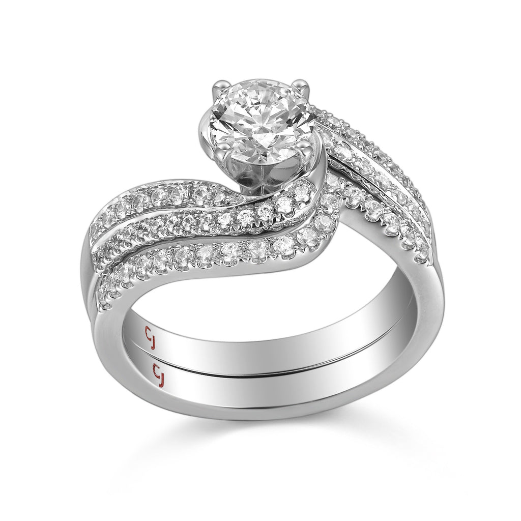 Modern Engagement Ring S201798A and Band Set S201798B