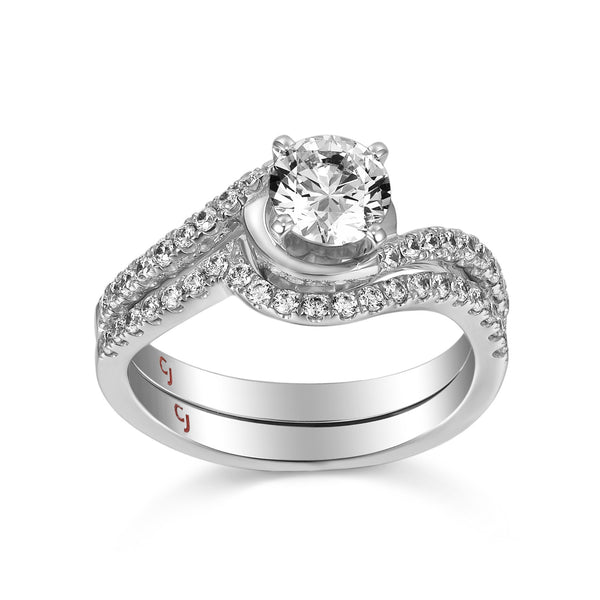 Modern Engagement Ring S201799A and Band Set S201799B