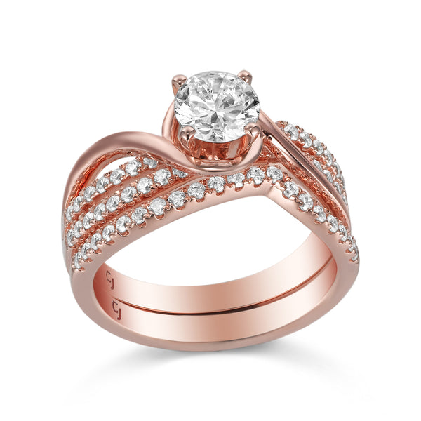 Modern Engagement Ring S201800A and Band Set S201800B