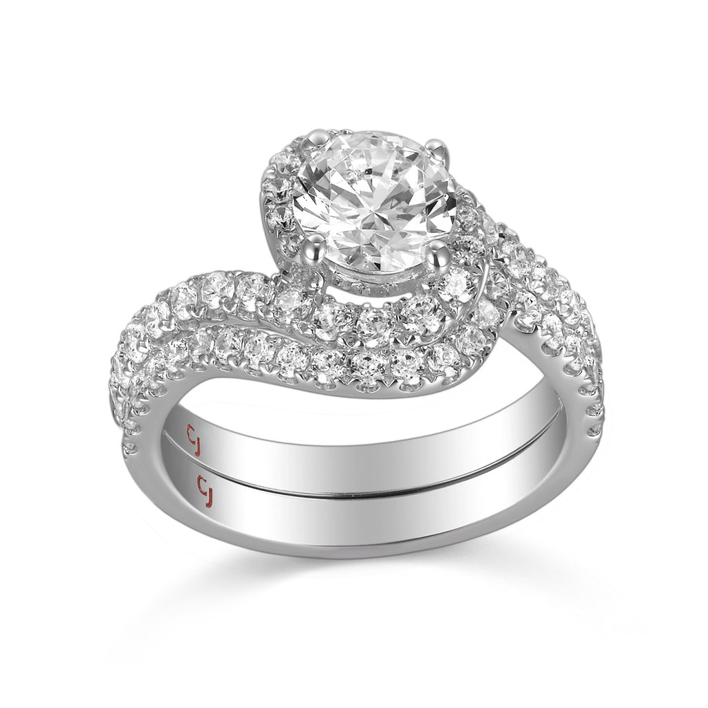 Modern Engagement Ring S201801A and Band Set S201801B