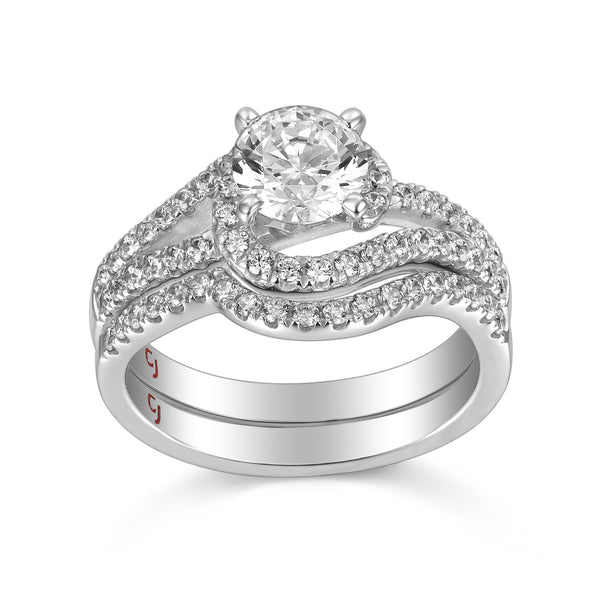 Modern Engagement Ring S201802A and Band Set S201802B