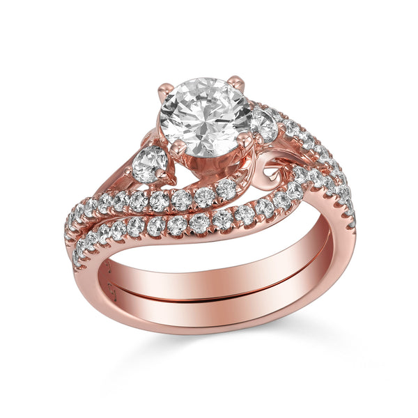 Modern Engagement Ring S201804A and Band Set S201804B