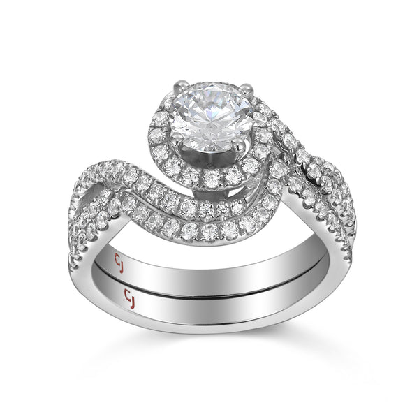 Modern Engagement Ring S201805A and Band Set S201805B