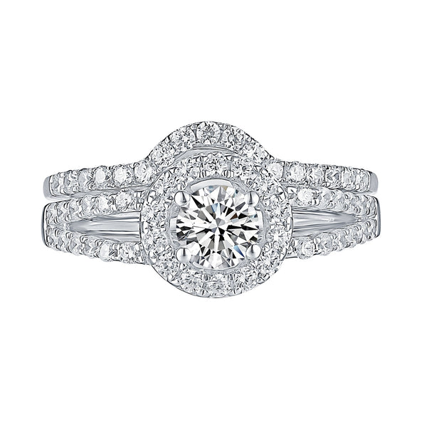 White Gold Round Engagement Ring S2016104A and Band S2016104B