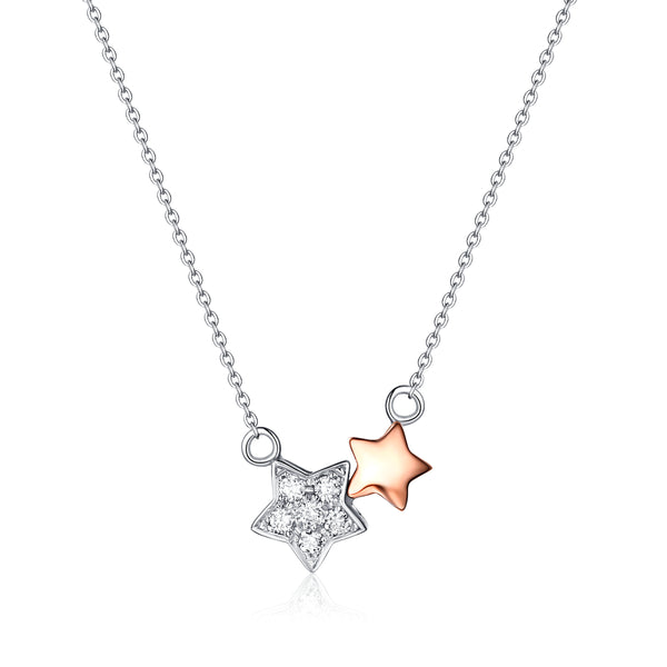 Rose Gold and White Gold Diamond Star Necklace - S2012180