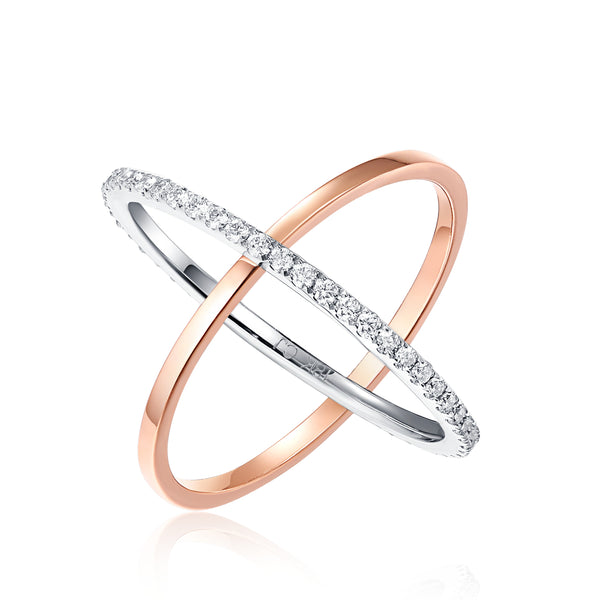 Rose Gold and White Gold Diamond Fashion Ring - S2012202