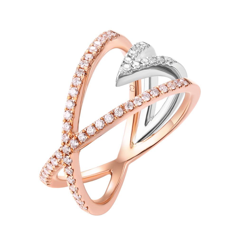 Rose Gold and White Gold Diamond Fashion Ring - S2012205