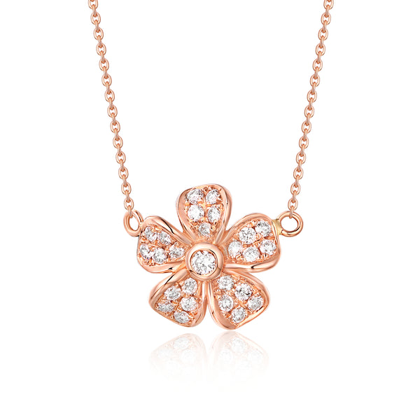 Rose Gold Fashion Diamond Flower Necklace - S2012226