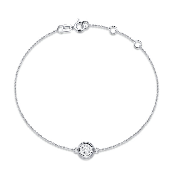 White Gold Bezel Set Diamond Bracelet - S2012234