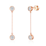 Rose Gold Bezel Set Diamond Drop Earrings - S2012260