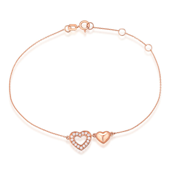 Rose Gold Diamond Heart Bracelet - S2012270