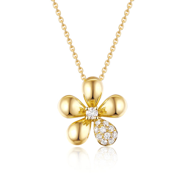 Yellow Gold Fashion Diamond Flower Pendant - S2012286