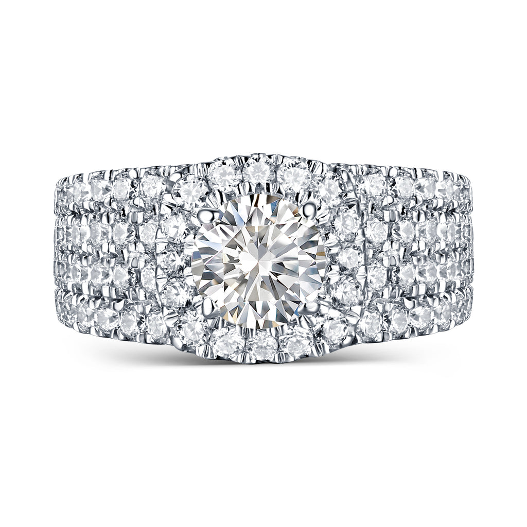Mystere Halos Round Engagement Ring S2012672A and Band Set S2012672B