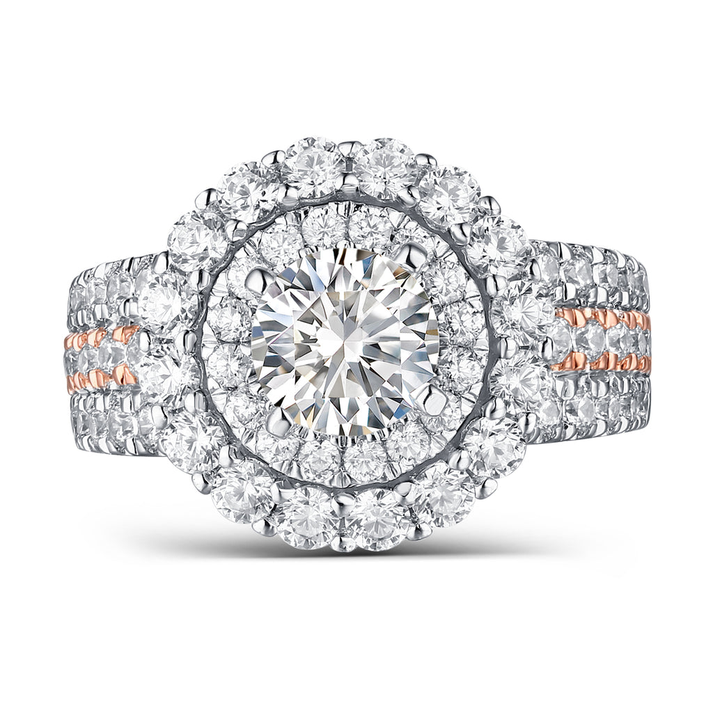 Mystere Halos Round Engagement Ring S2012674A and Band Set S2012674B