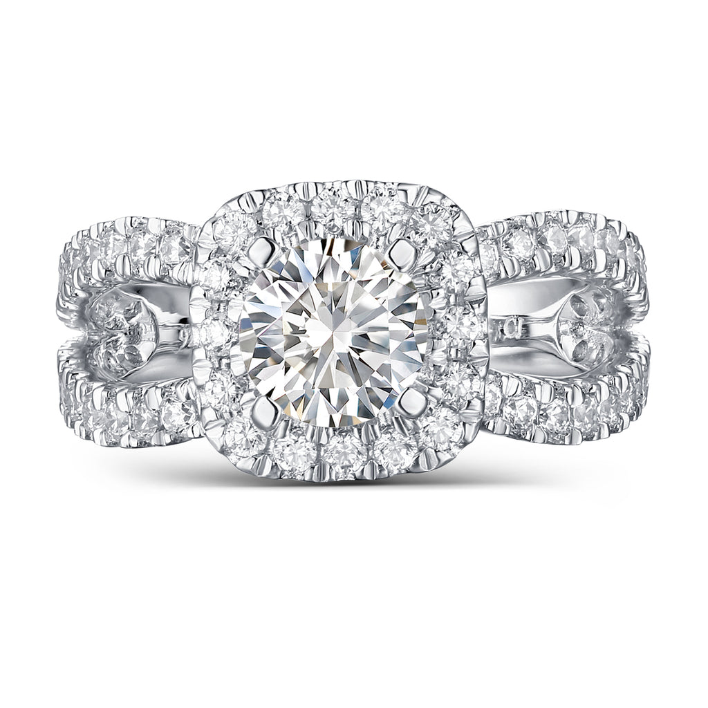 Halos Round Engagement Ring S2012676A and Band Set S2012676B