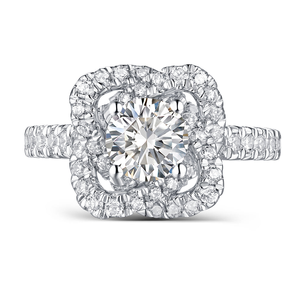 Halos Round Engagement Ring S2012682A and Band Set S2012682B