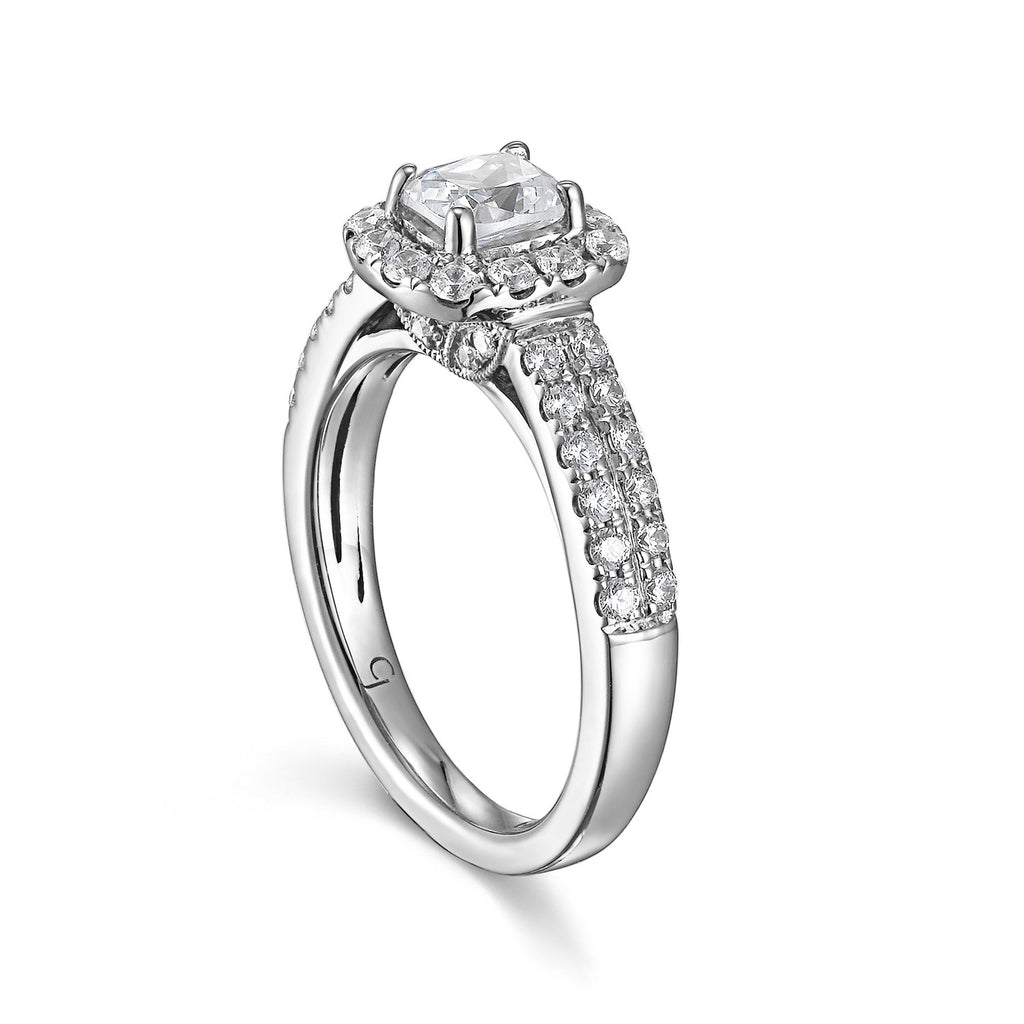 Cushion Cut Diamond Engagement Ring S201510A and Band Set S201510B