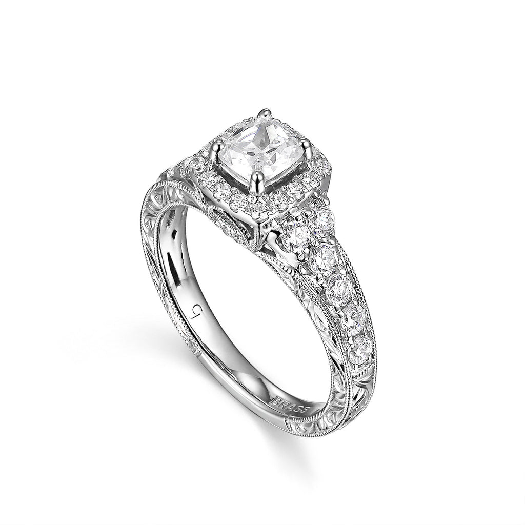 Cushion Cut Diamond Engagement Ring S201512A and Band Set S201512B