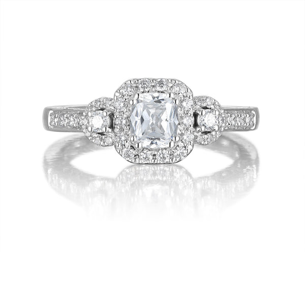 Cushion Cut Diamond Engagement Ring S201513A and Band Set S201513B