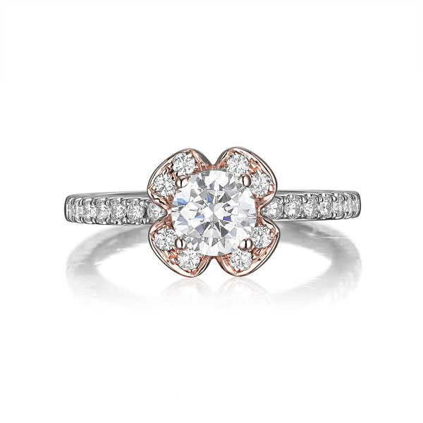 Floral Round Engagement Ring S201514A and Band Set S201514B