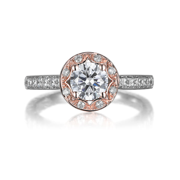 Floral Round Engagement Ring S201515A and Band Set S201515B