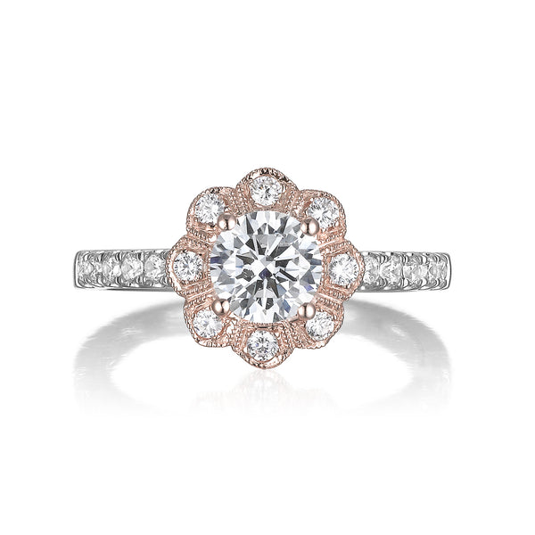 Floral Round Engagement Ring S201516A and Band Set S201516B