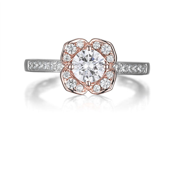 Floral Round Engagement Ring S201517A and Band Set S201517B