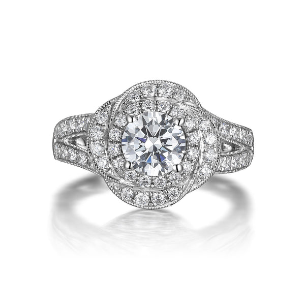 Floral Round Engagement Ring S201519A and Band Set S201519B
