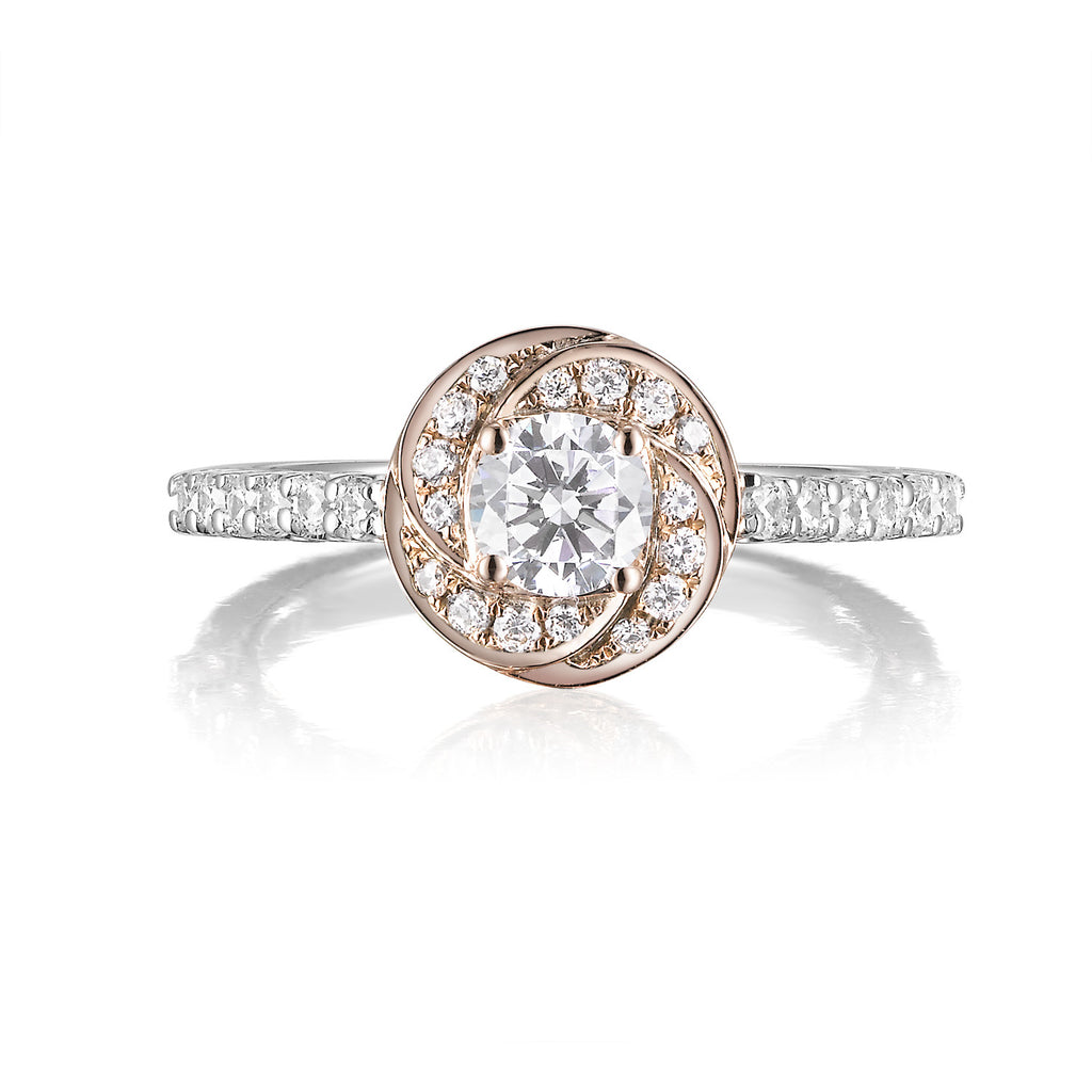 Two-tone Round Diamond Floral Engagement Ring S201520A and Band Set S201520B