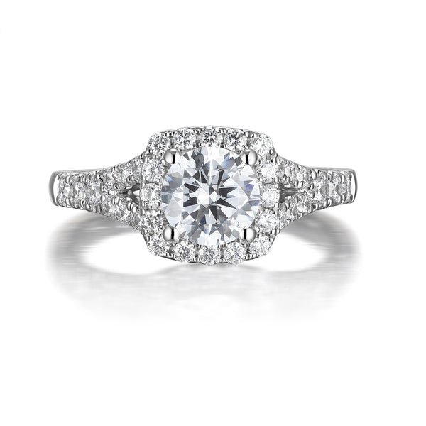 Round Diamond Halo Engagement Ring S201522A and Band Set S201522B
