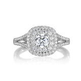 Round Diamond Double Halo Engagement Ring S201528A and Band Set S201528B