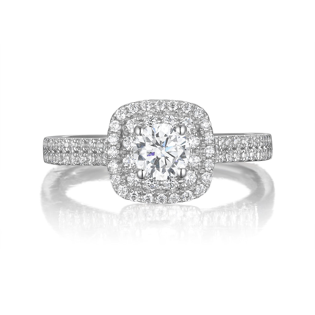 Round Diamond Double Halo Engagement Ring S201529A and Band Set S201529B