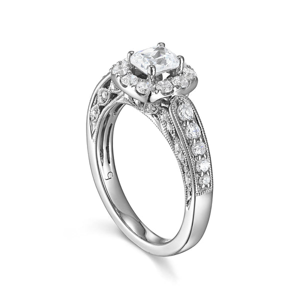 Cushion Cut Diamond Engagement Ring S20152A and Band Set S20152B