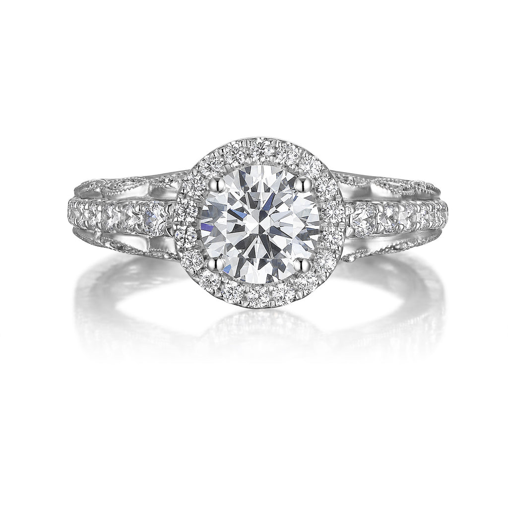 Round Diamond Halo Engagement Ring S201535A and Band Set S201535B