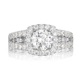 Round Diamond Halo Engagement Ring S201538A and Band Set S201538B