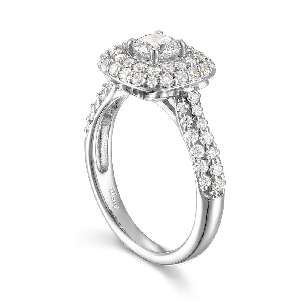 Round Diamond Halo Engagement Ring S201539 and Band Set S201539B