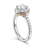 Two-tone Round Diamond Halo Engagement Ring S201541A and Band Set S201541B