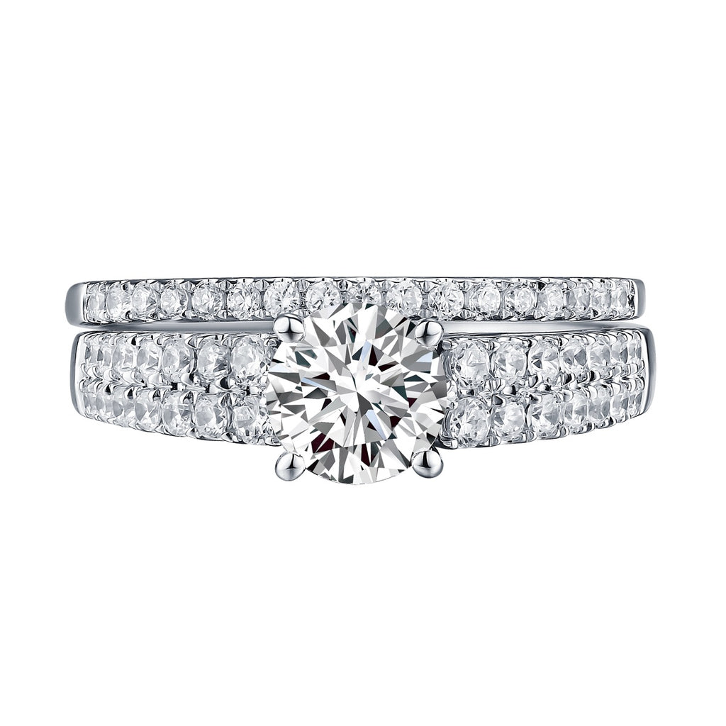 Modern Solitaire Plus Engagement Ring S201581A and Band Set S201581B