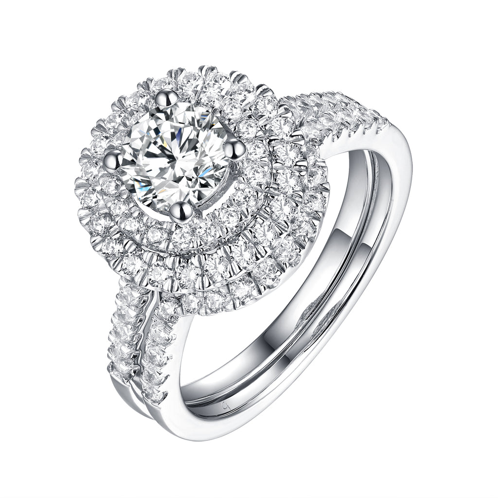 White Gold Round Engagement Ring S2016113A and Band S2016113B