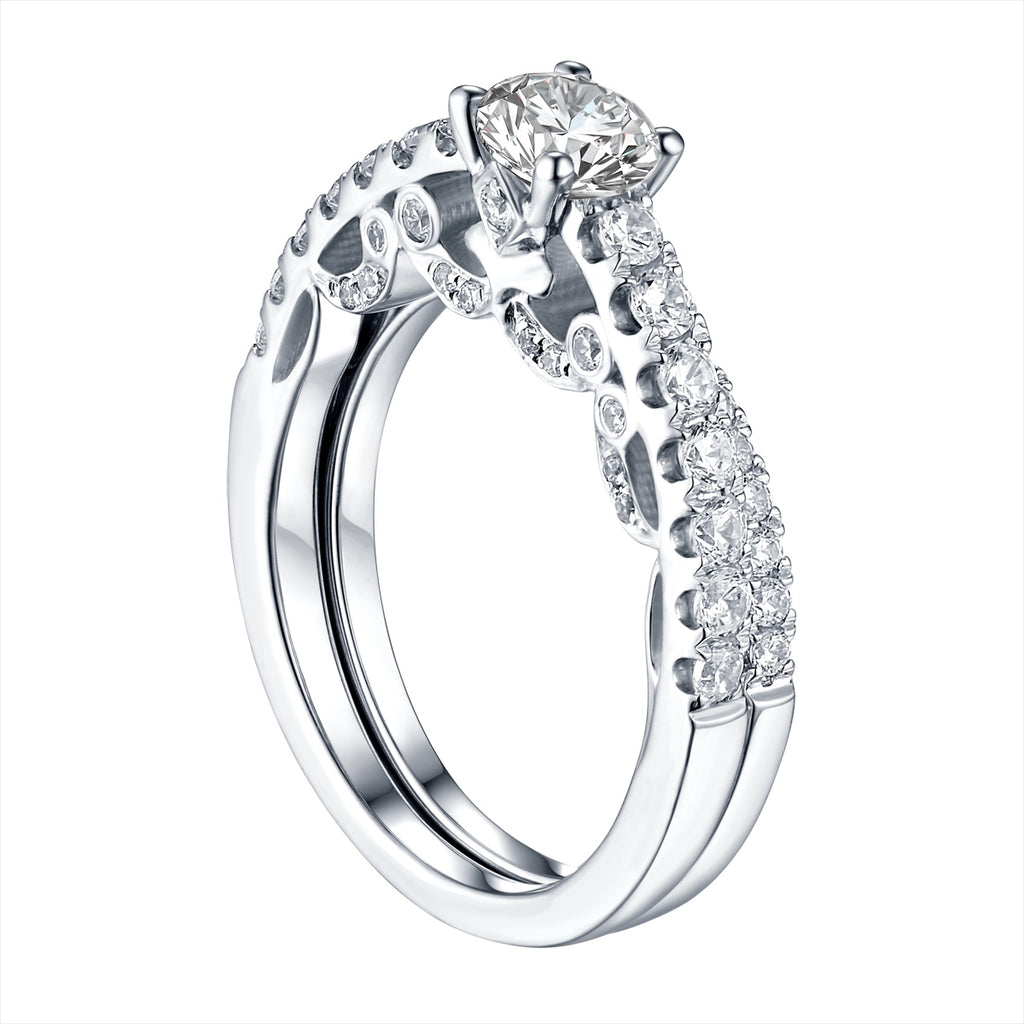 Round Diamond Engagement Ring S201622A and Band S201622B