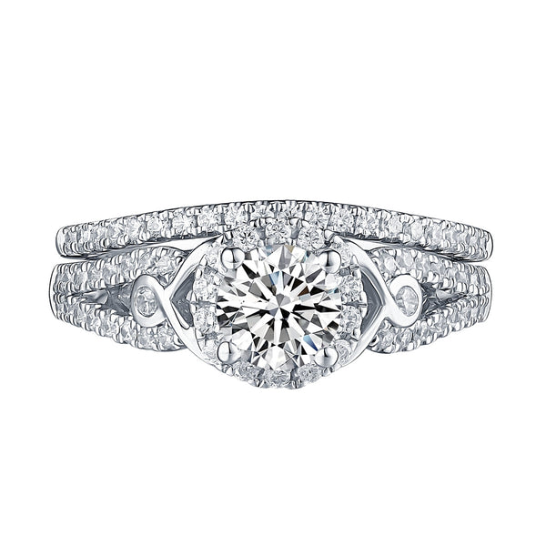 White Gold Round Engagement Ring S201644A and Band S201644B