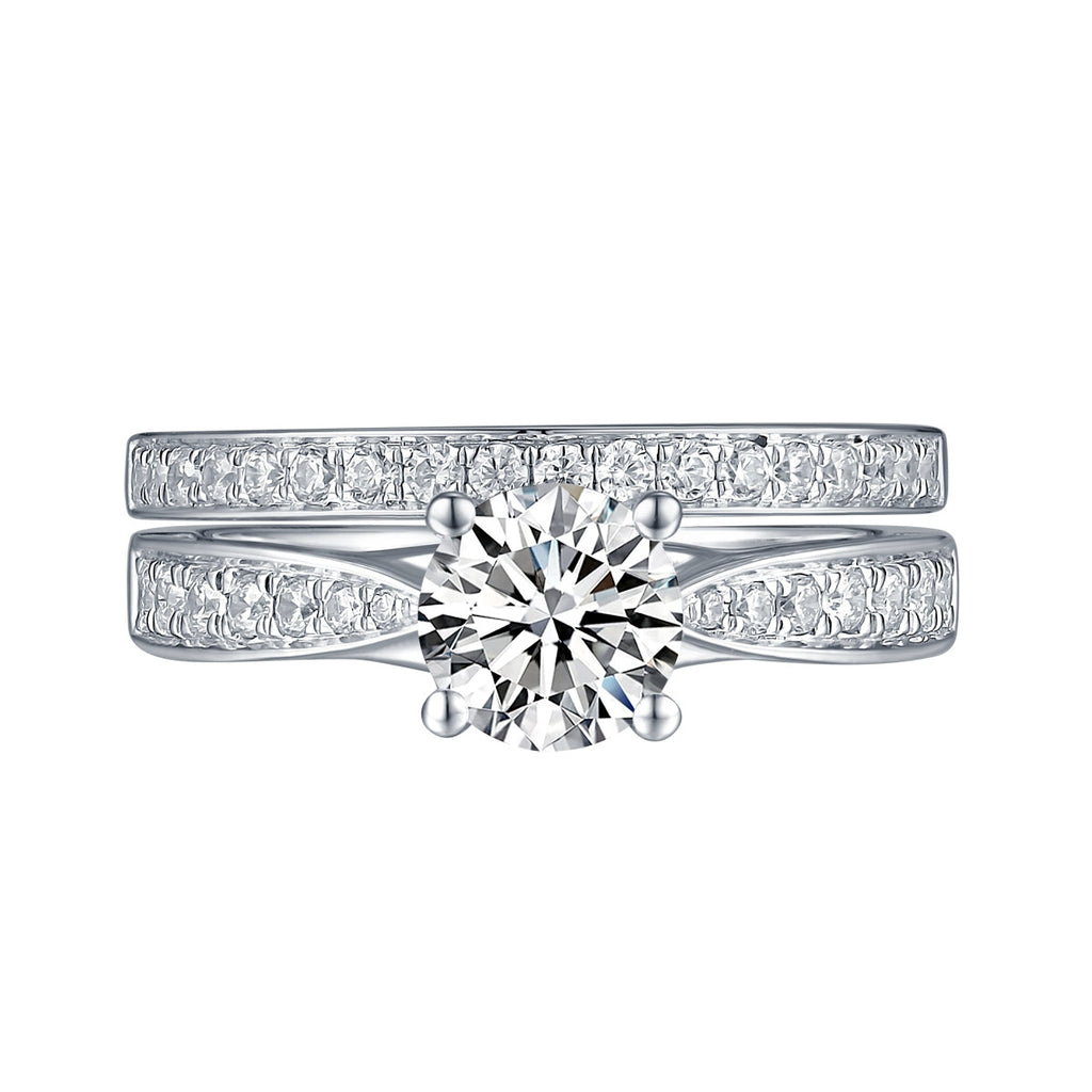 White Gold Round Engagement Ring S201649A and Band S201649B