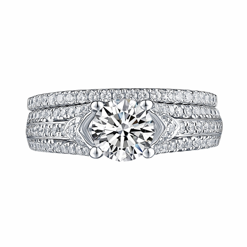 White Gold Round Engagement Ring S201650A and Band S201650B